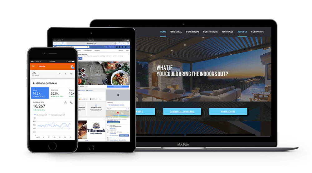 Services include website build, Facebook management, and Google audience growth