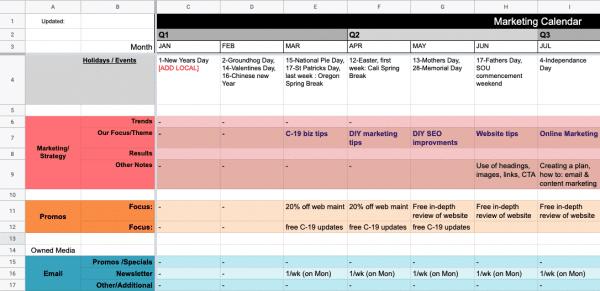 DBK Marketing Calendar