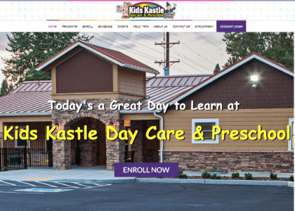 Kids Kastle website after redesign.